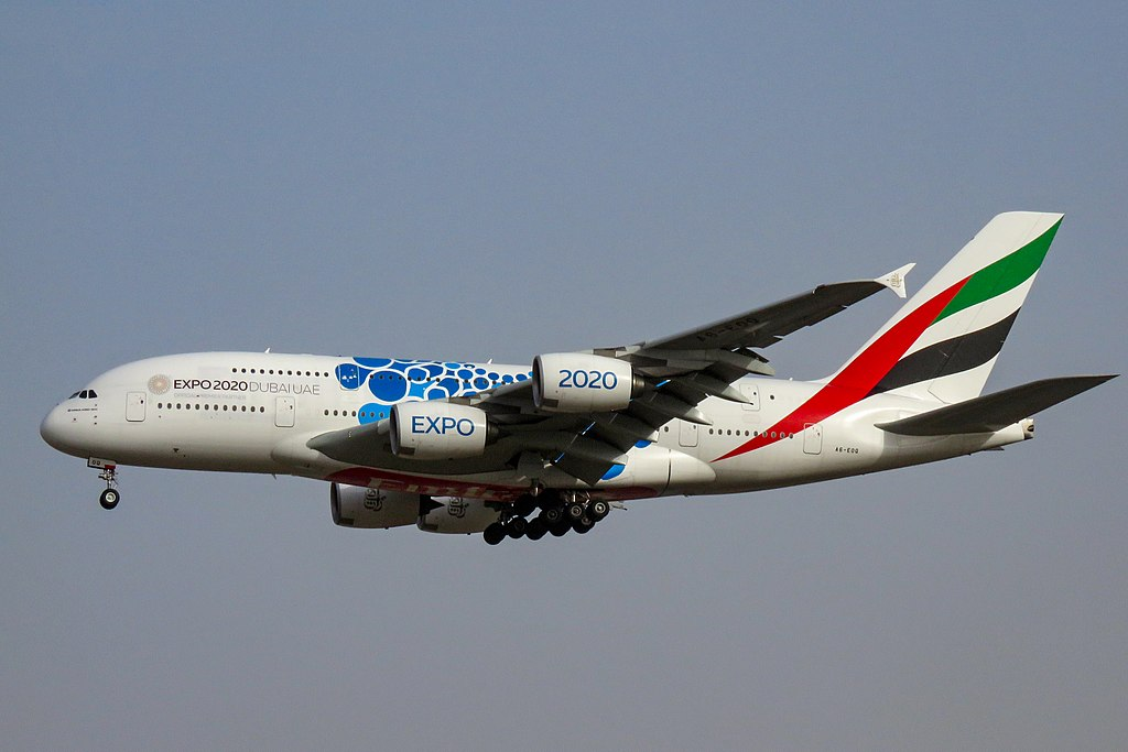 A6 EOQ Airbus A380 800 Expo 2020 Mobility Blue cs of Emirates at Beijing Capital International Airport