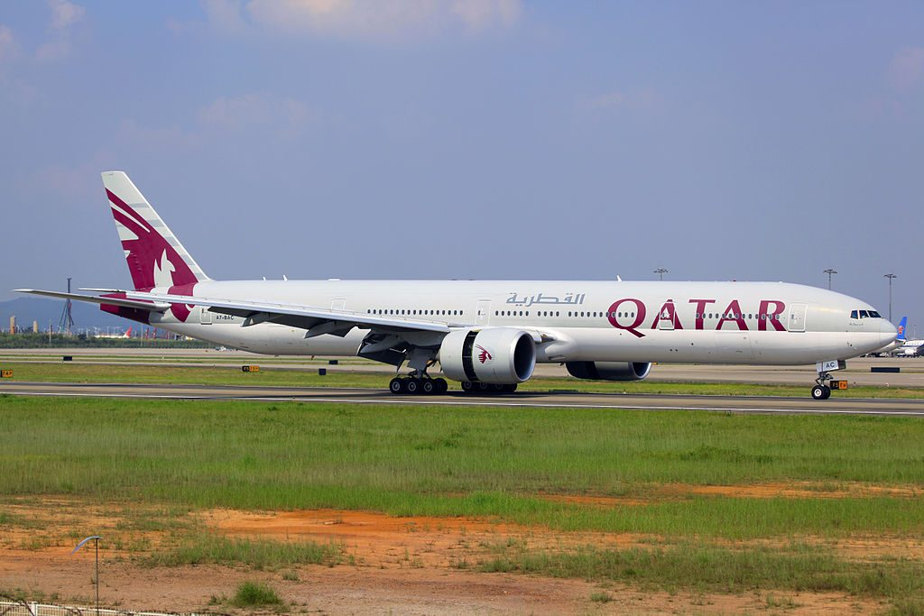 A7 BAC Boeing 777 3DZER of Qatar Airways at Guangzhou Baiyun International Airport