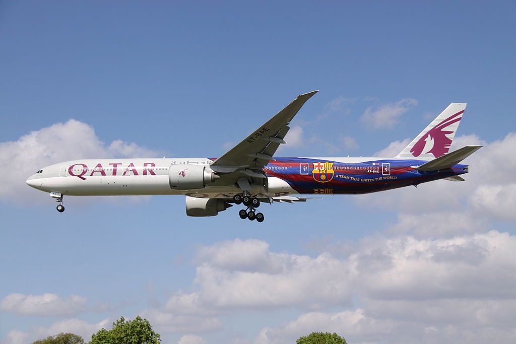 A7 BAE Boeing 777 300ER Qatar Airways In FCB Barcelona At London Heathrow