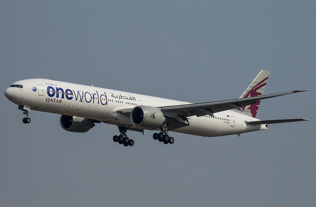 A7 BAG Boeing 777 300ER oneworld livery of Qatar Airways at Beijing Capital International Airport