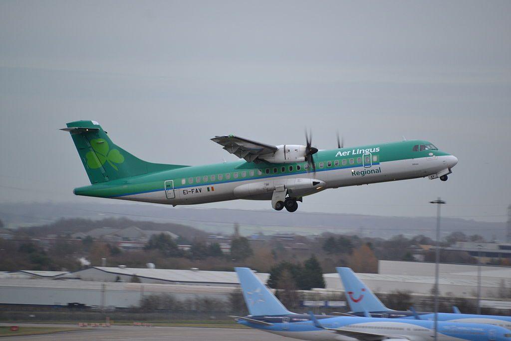 ATR72 600 Aer Lingus Regional Stobart Air EI FAV St. Eithne Ethna departing rwy.15 at Birmingham BHX