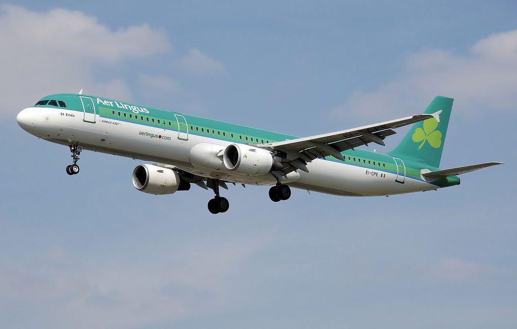 Aer Lingus Airbus A321 200 EI CPE St Enda Eanna landing at London Heathrow Airport