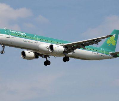 Aer Lingus Airbus A321 200 EI CPE St Enda Eanna landing at London Heathrow Airport