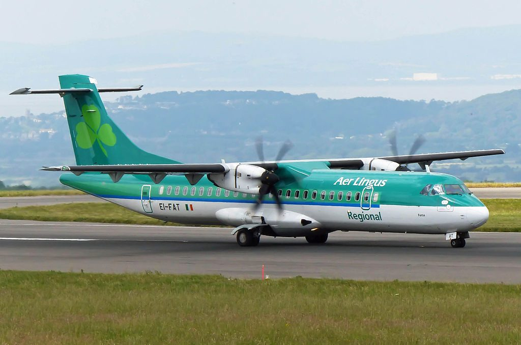 Aer Lingus Regional Stobart Air ATR72 EI FAT St. Fursey Fursa takeoff Bristol International Airport