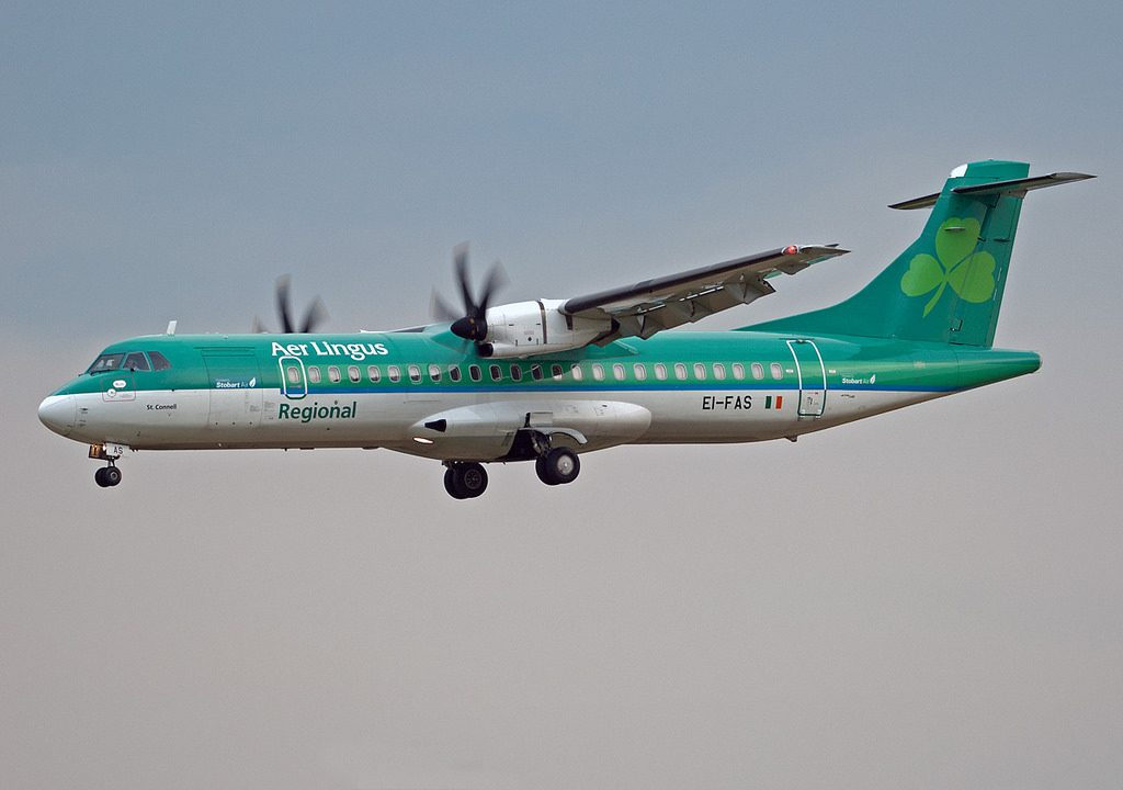 Aer Lingus Regional Stobart Air EI FAS ATR 72 600 St. Conall on final at Dublin Airport