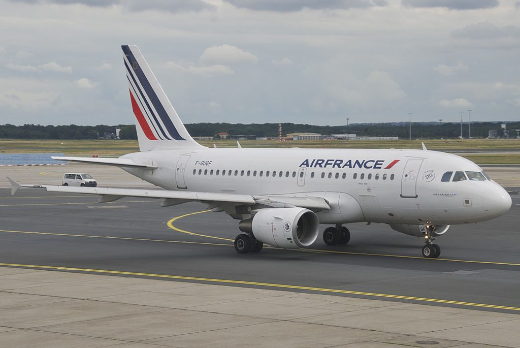 Air France Airbus A318 111 F GUGF taxiing at FRA Frankfurt Airport