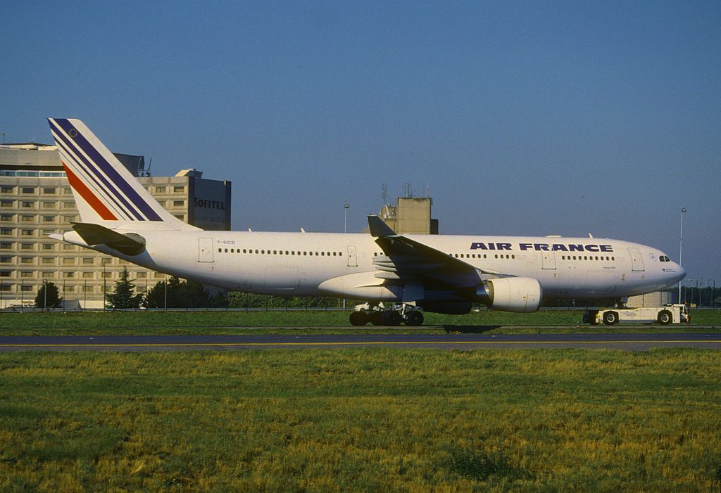 Air France Airbus A330 200 F GZCD pushed by tug at CDG