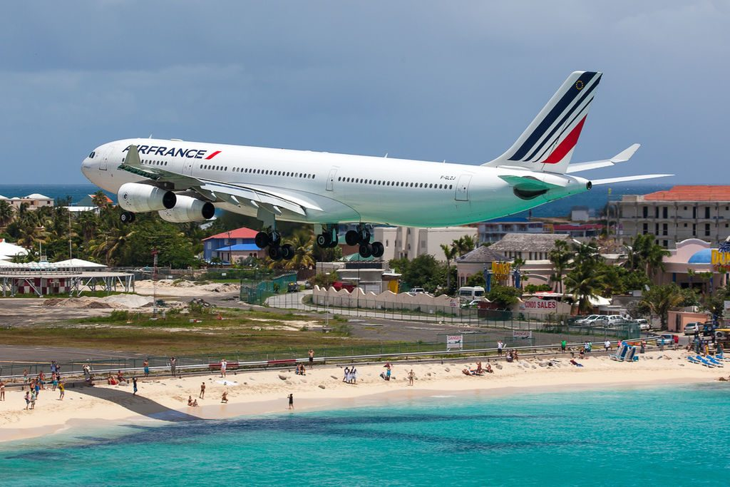 Air France Airbus A340 300 F GLZJ on short finals at Princess Juliana Airport