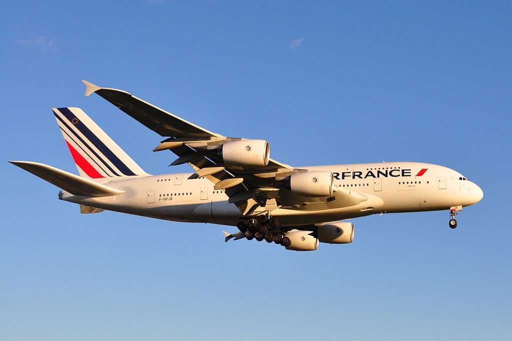 Air France Airbus A380 800 F HPJB on final approach at Montréal Pierre Elliott Trudeau International Airport