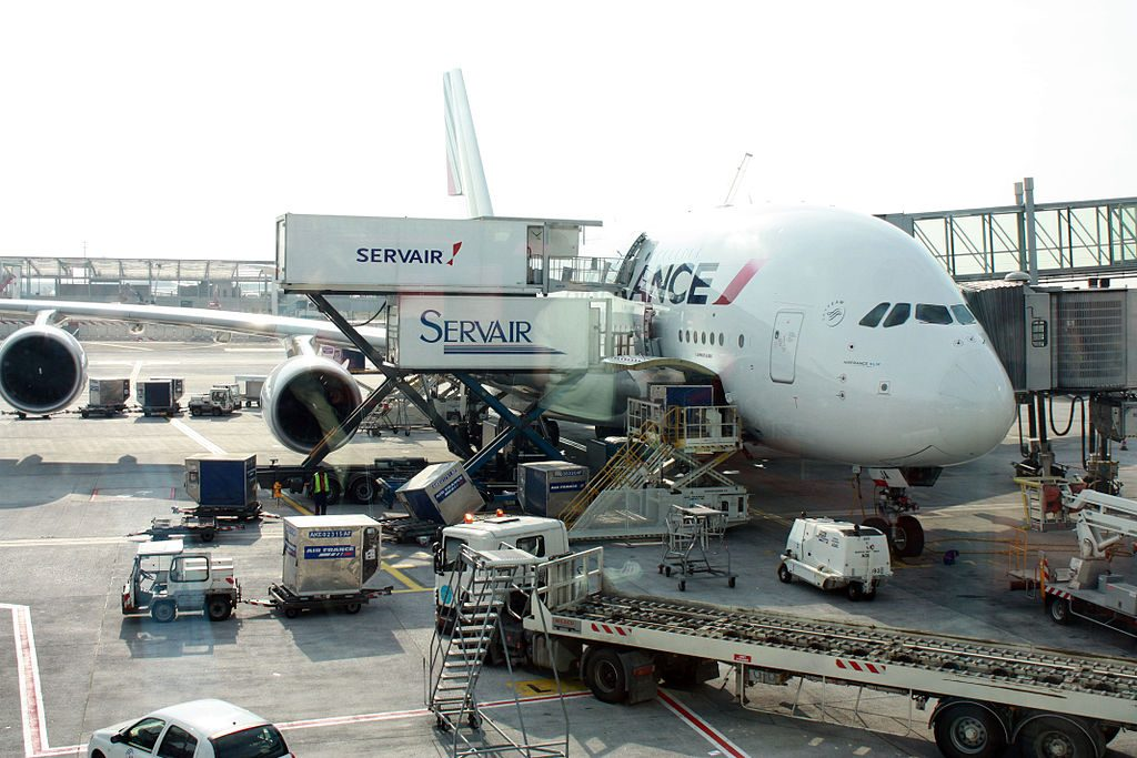 Air France Airbus A380 800 F HPJC on ramp at Roissy Charles De Gaulle Airport in Paris during catering and cargo loading