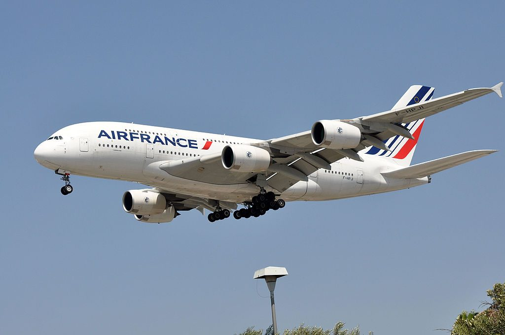 Air France Airbus A380 861 F HPJI on final approach at LAX Airport