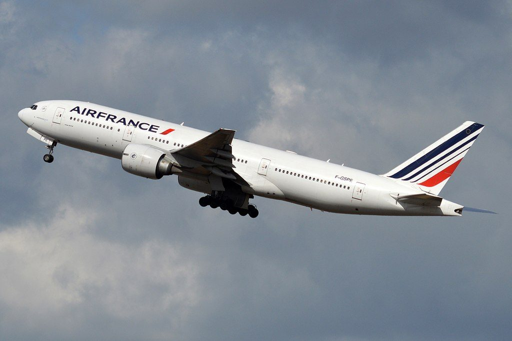 Air France F GSPE Boeing 777 228ER departing Paris Charles de Gaulle Airport