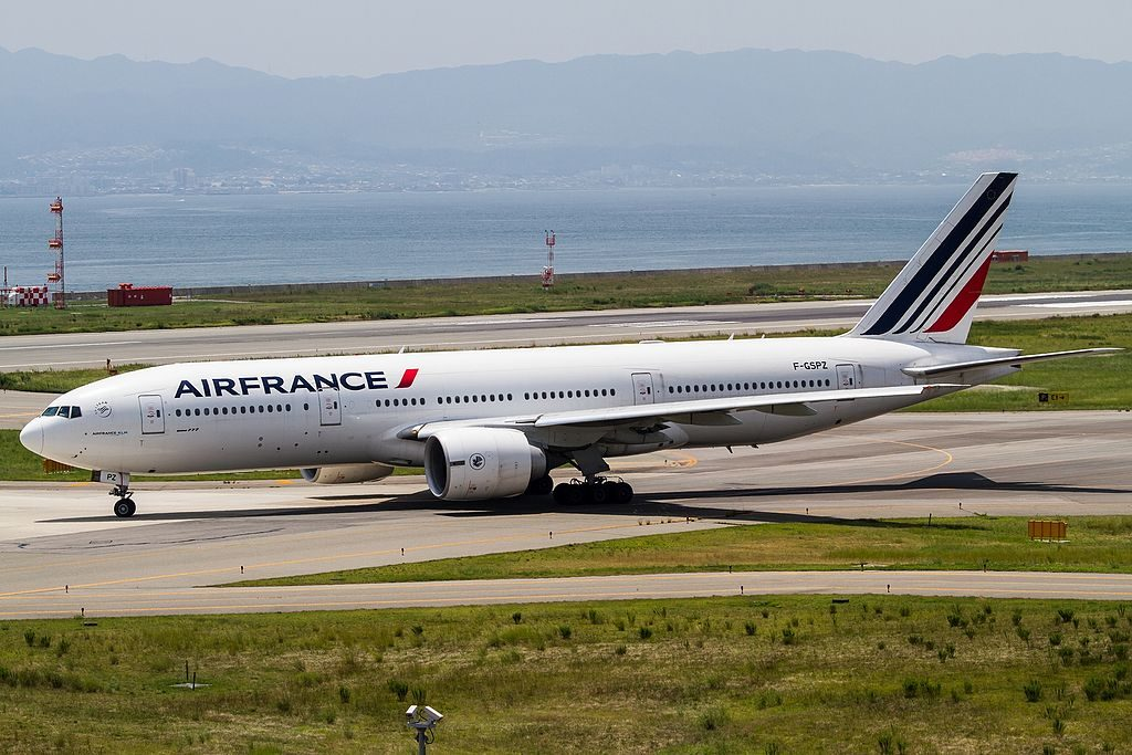 Air France F GSPZ Boeing 777 200ER taxiing for RW24L at Kansai International Airport