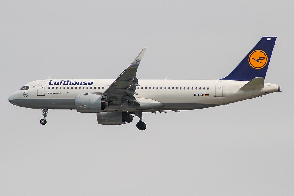 Airbus A320neo Lufthansa D AING at London Heathrow Airport