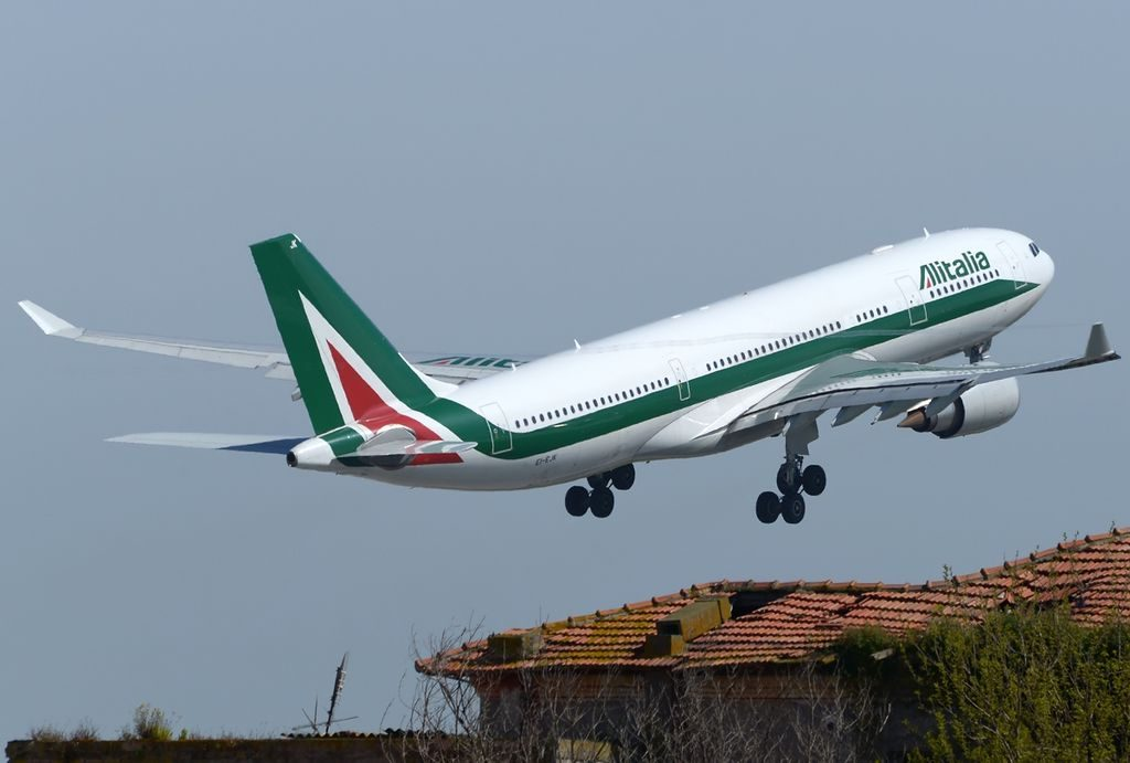 Airbus A330 202 Alitalia EI EJK Giotto departing Roma Leonardo da Vinci Fiumicino LIRF Italy