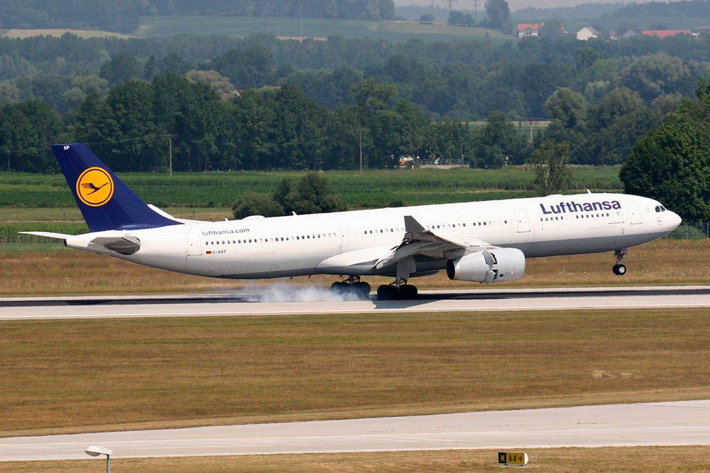 Airbus A330 343X Lufthansa D AIKP landing at Munich EDDM MUC Airport