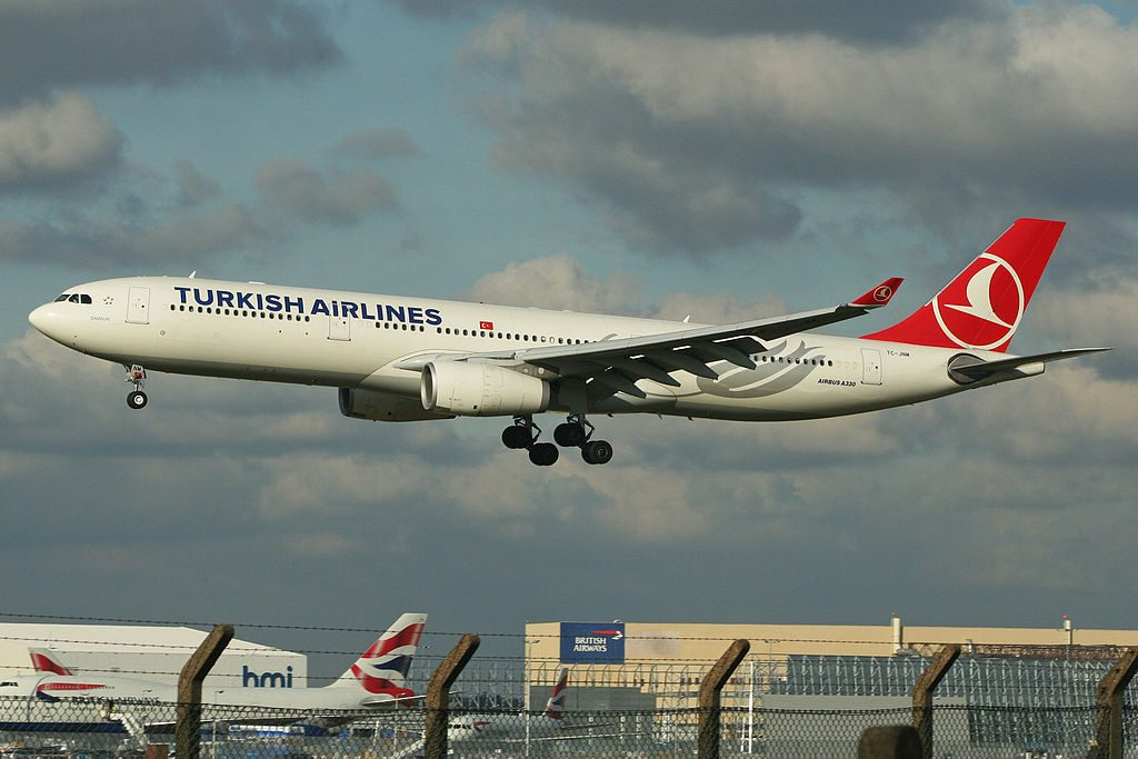 Airbus A330 343X TC JNM Turkish Airlines Samsun arriving from Istanbul at London Heathrow