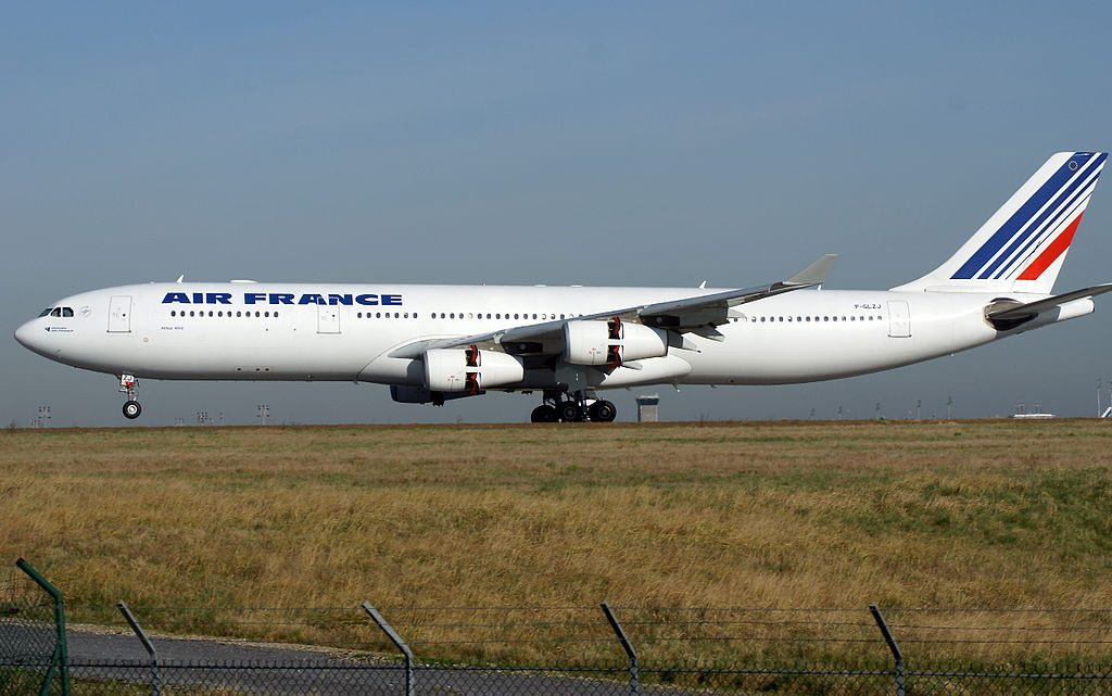 Airbus A340 300 of Air France F GLZJ landing at Paris Charles de Gaulle Airport