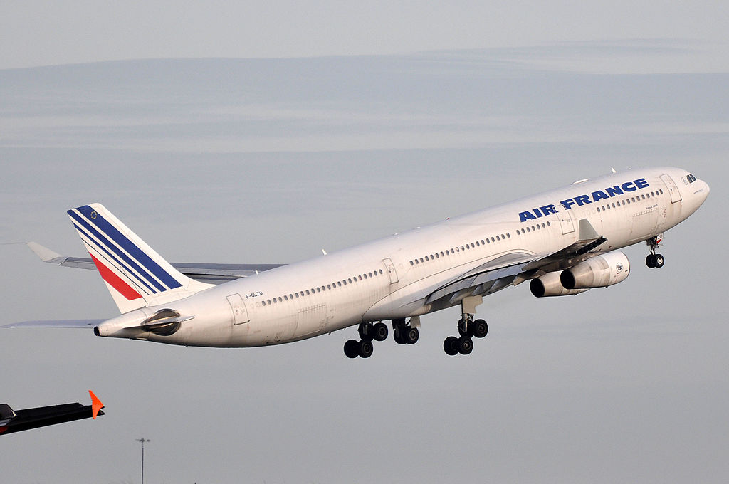 Airbus A340 313X Air France Registration F GLZU departing at Paris Charles de Gaulle Airport