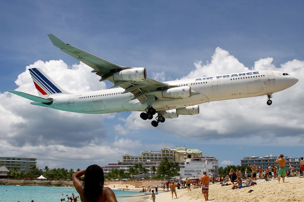 Airbus A340 313X Air France Registration F GLZU on final at Princess Juliana Airport
