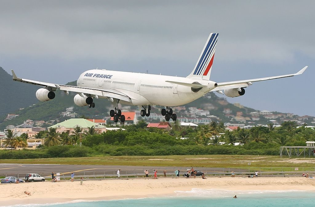 Airbus A340 313X Air France Registration F GLZU on final before landing at Princess Juliana Airport
