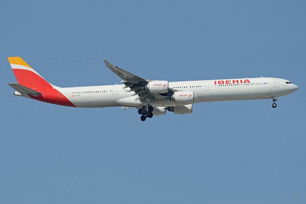 Airbus A340 642 EC IZX Mariano Benlliure Iberia arriving from San Jose at Madrid Bajaras Airport