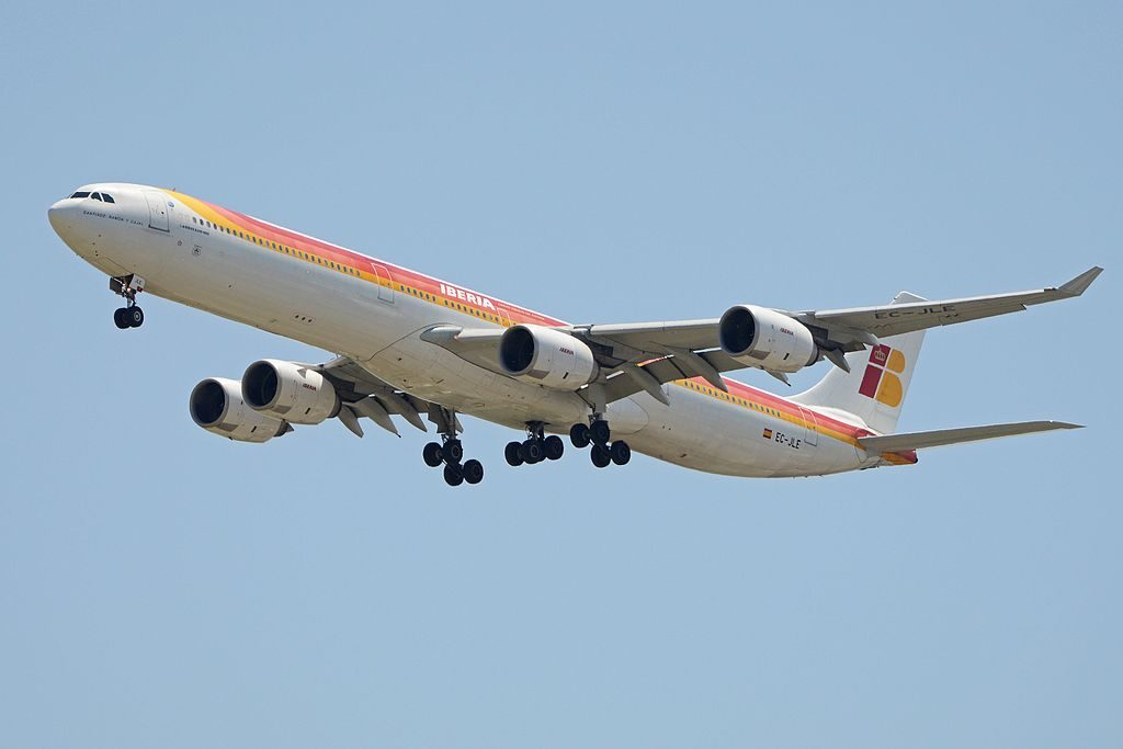 Airbus A340 642 EC JLE Iberia Santiago Ramón y Cajal arriving from Mexico City at Madrid Bajaras Airport