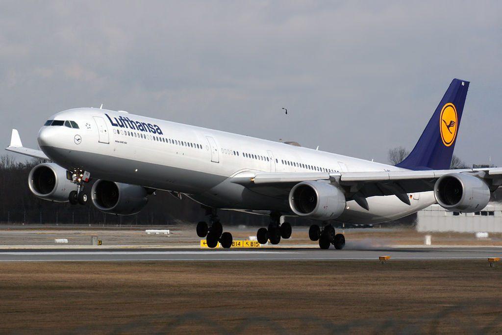 Airbus A340 642 Lufthansa D AIHU landing at Munich EDDM MUC Airport