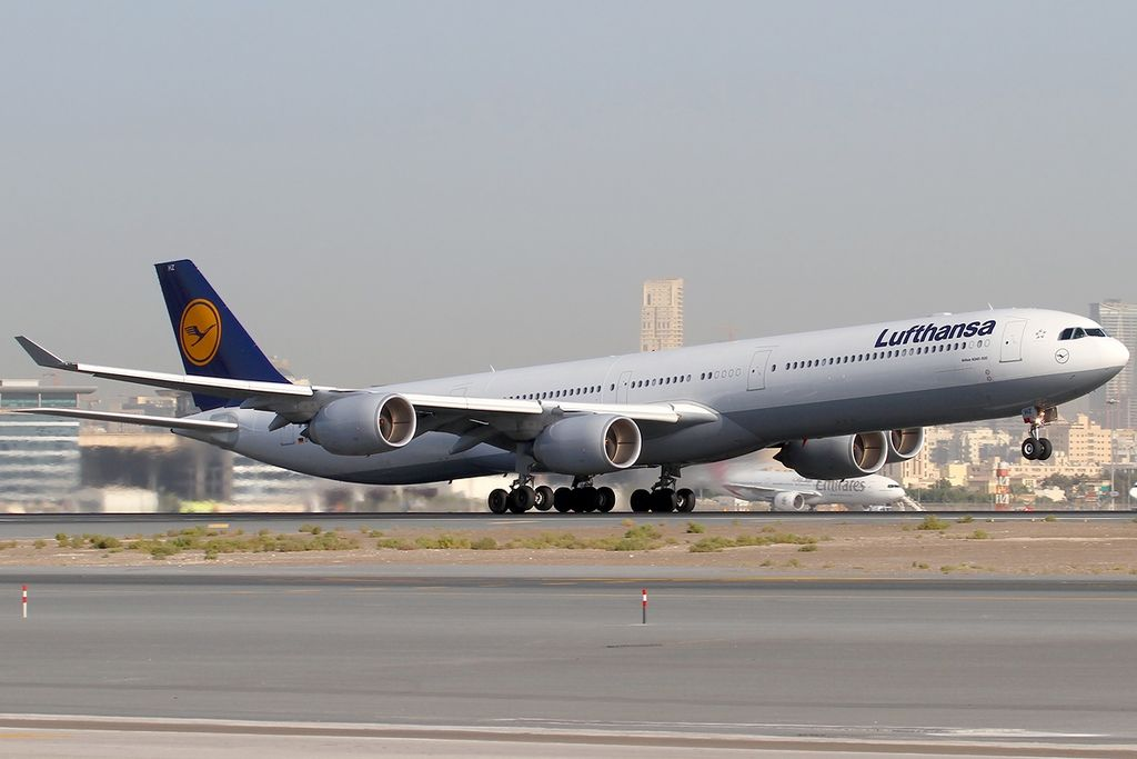 Airbus A340 642 Lufthansa D AIHZ Leipzig at Dubai International Airport