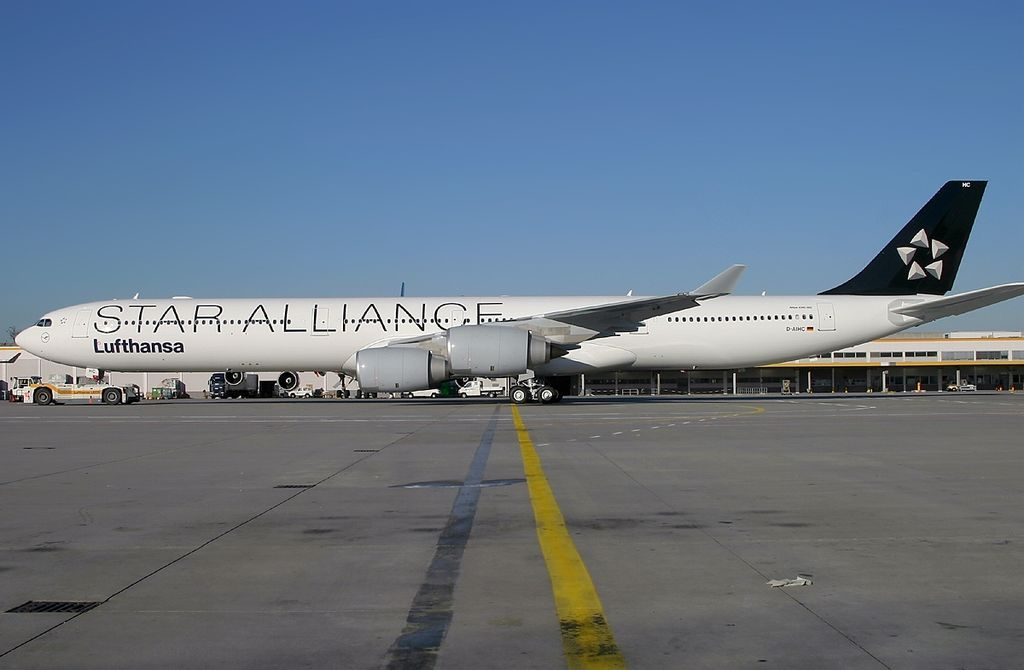 Airbus A340 642 Star Alliance Lufthansa D AIHC at Frankfurt Airport
