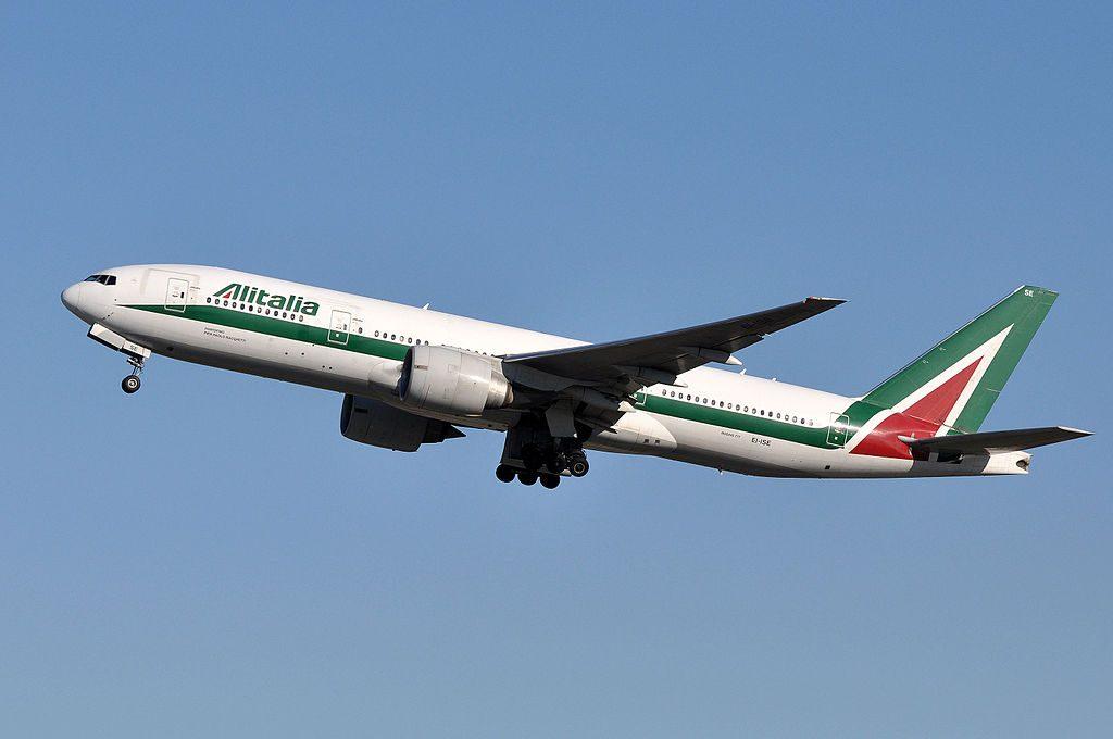 Alitalia Boeing 777 20ER EI ISE departing Roma Fiumicino Airport