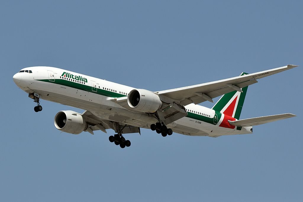 Alitalia Boeing 777 243ER EI DBM on final approach at Los Angeles International Airport