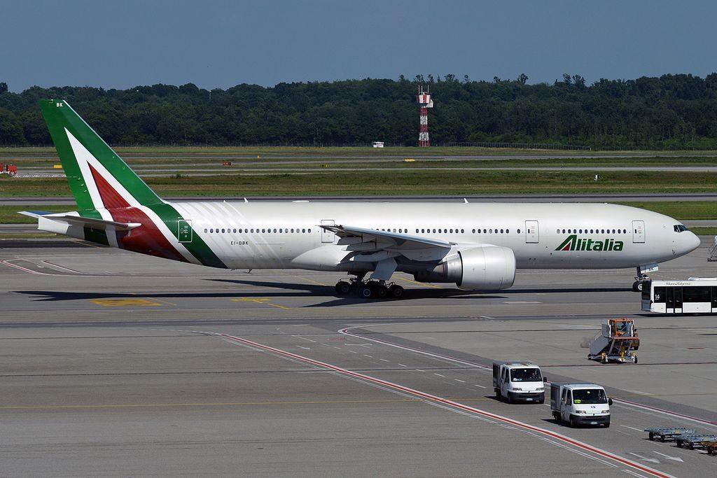 Alitalia EI DBK Boeing 777 243ER at Milan Malpensa Airport