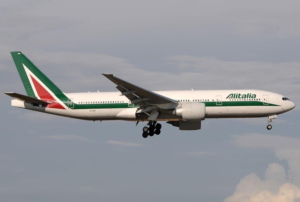 Alitalia EI ISA Boeing 777 243ER final at Roma Leonardo da Vinci Fiumicino LIRF Italy