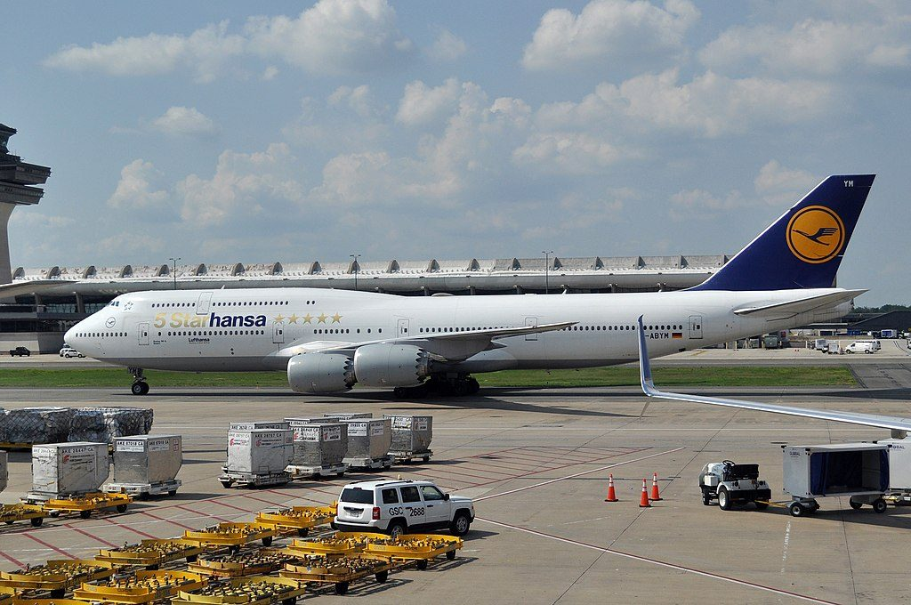 Bayern D ABYM Boeing 747 830 of Lufthansa 5 STARHANSA at Washington Dulles International Airport