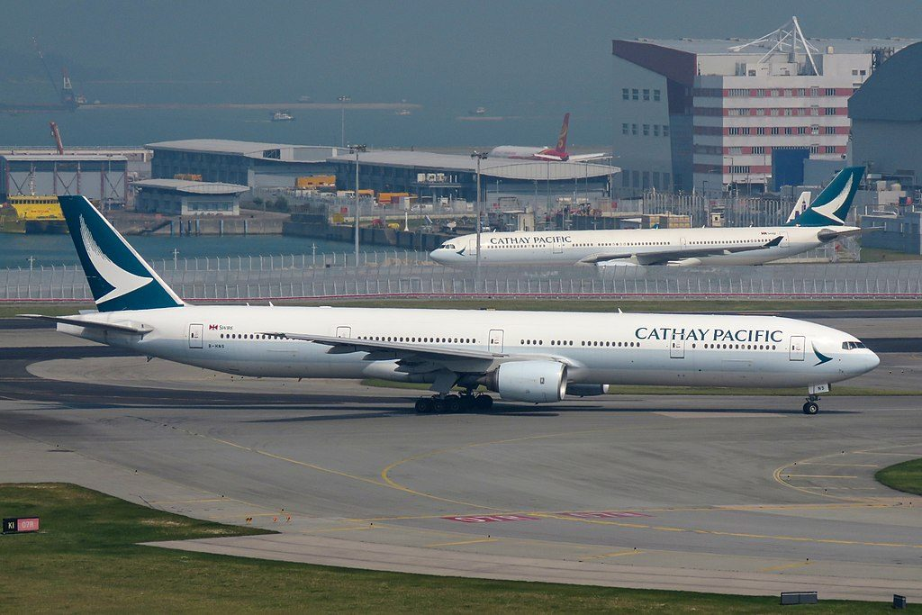 Boeing 777 300 B HNS of Cathay Pacific ex Emirates at Hong Kong International Airport