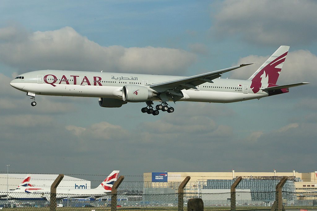 Boeing 777 3DZER A7 BAH Qatar Airways at London Heathrow Airport