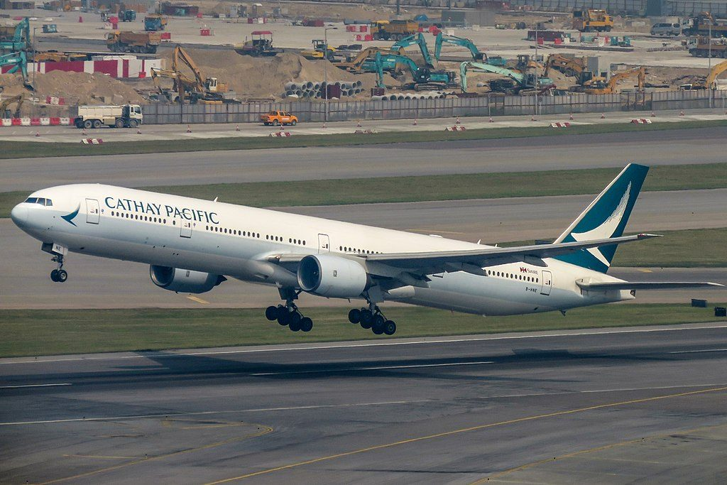 Cathay Pacific Boeing 777 300 B HNE departing to Singapore at Hongkong International Airport