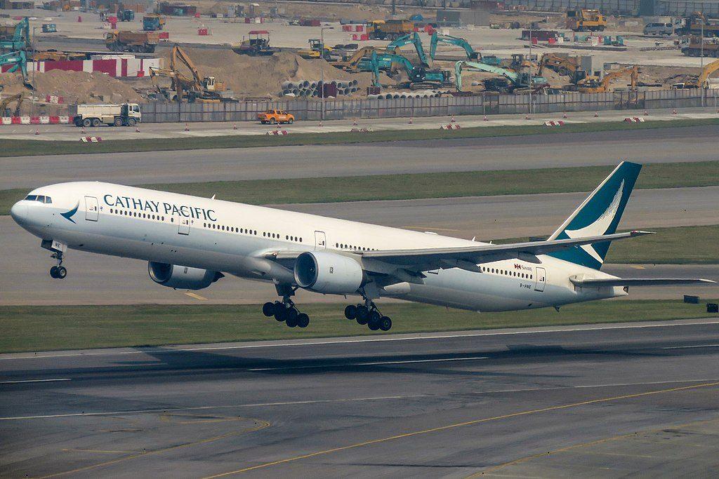 Cathay Pacific Boeing 777 300 B HNE departing to Singapore at Hongkong International Airport