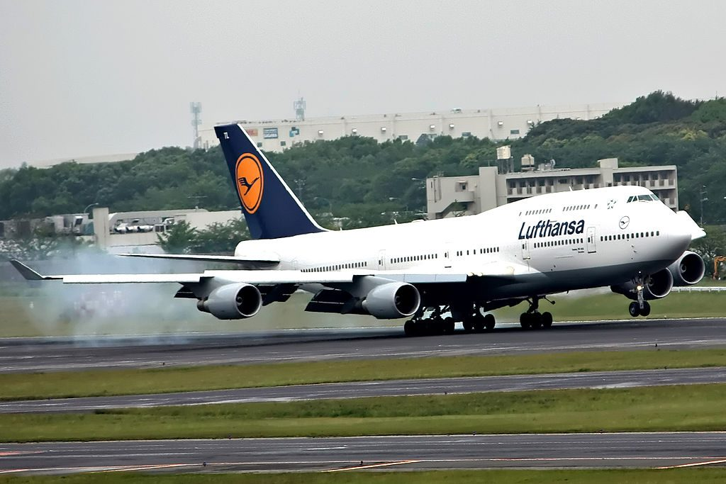 D ABTL Boeing 747 400 of Lufthansa landing rwy34L at Narita International Airport