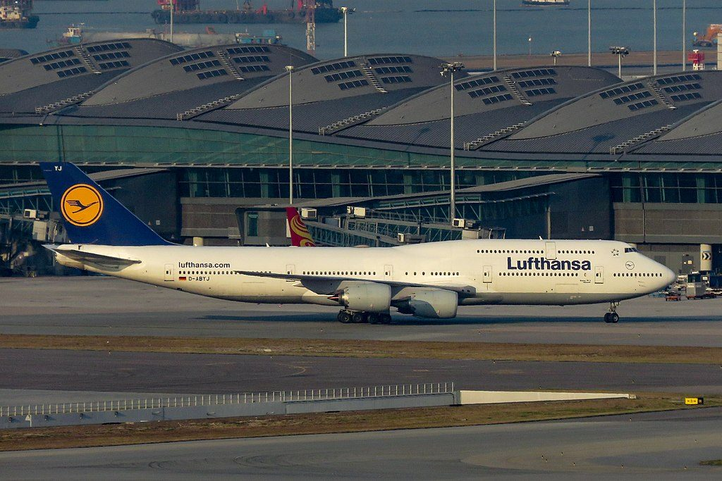 D ABYJ Boeing 747 830 of Lufthansa Hannover at Hong Kong International Airport
