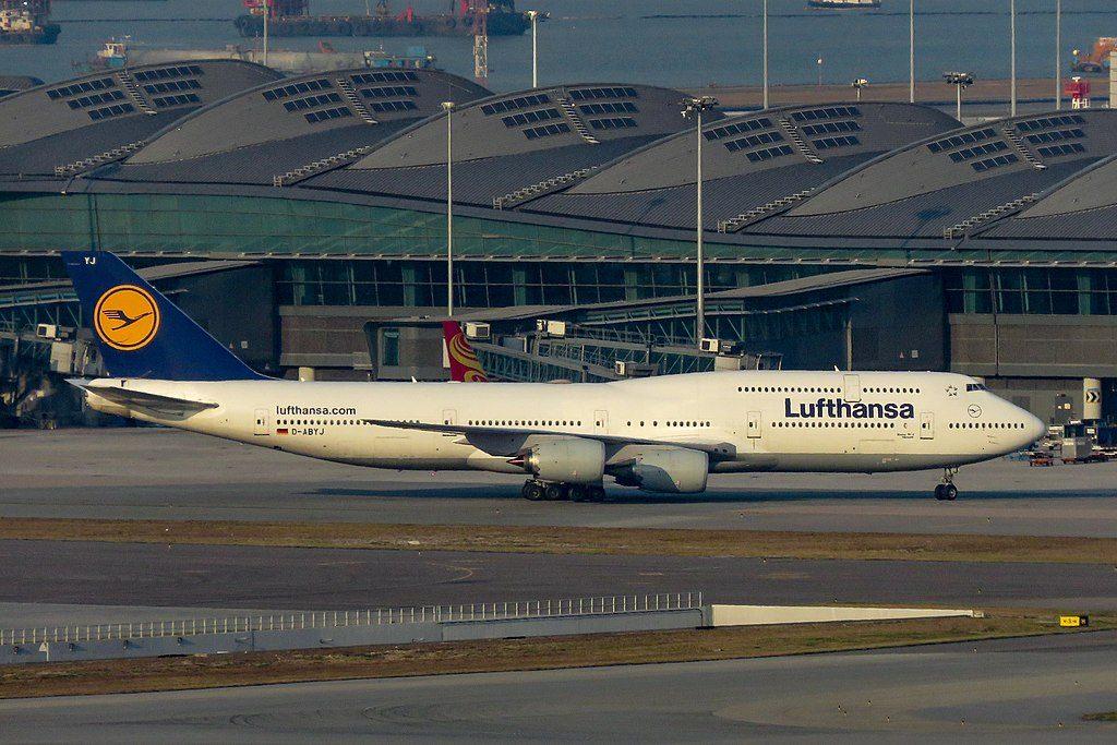D ABYJ Boeing 747 830 of Lufthansa Hannover at Hong Kong International Airport