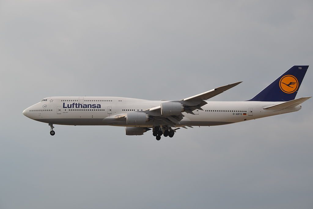 D ABYO Boeing 747 8 of Lufthansa on final approach to rwy25L at Frankfurt FRA Germany