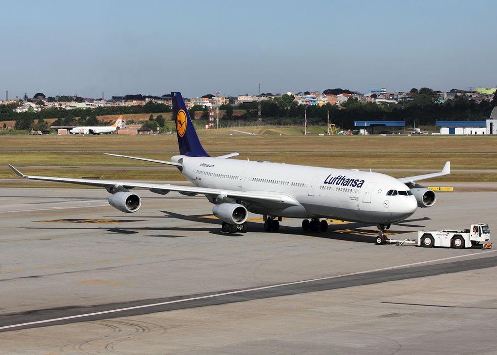 D AIGU Airbus A340 313X Lufthansa Castrop Rauxel at São Paulo Guarulhos International Airport