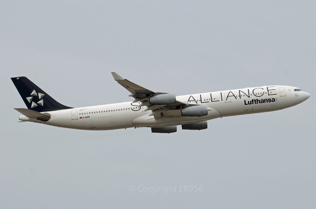 D AIGW A340 300 of Lufthansa Gladbeck Star Alliance Livery at Frankfurt Airport