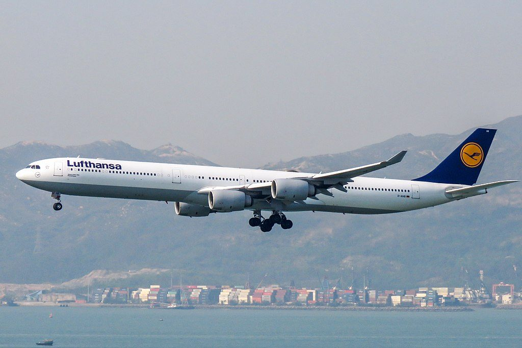 D AIHB Airbus A340 642 of Lufthansa Bremerhaven landing 25R at Hong Kong International Airport