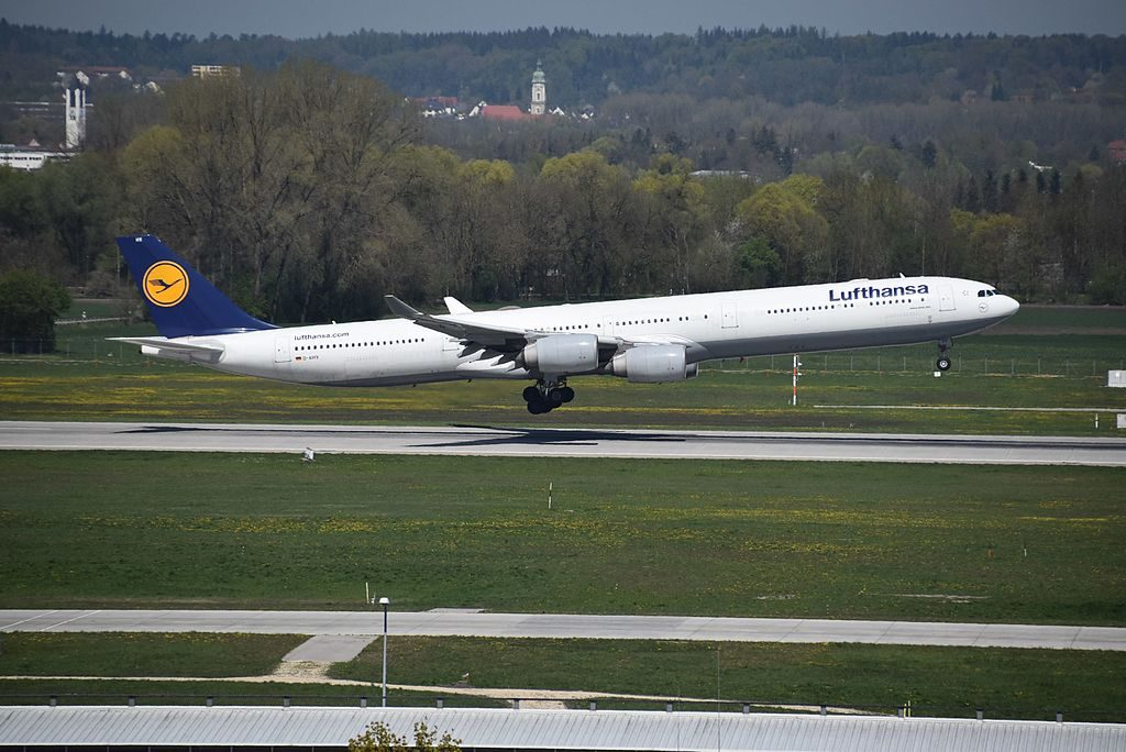D AIHV Airbus A340 642 of Lufthansa arriving rwy08L at Munich Airport