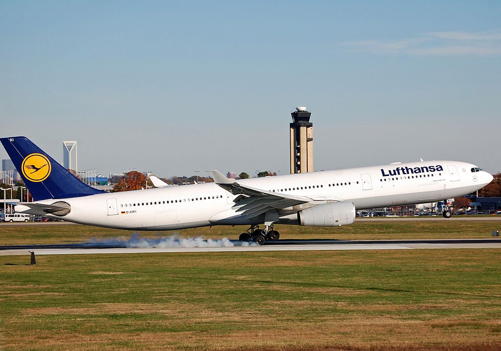D AIKI Airbus A330 300 Jena of Lufthansa at Charlotte Douglas International Airport