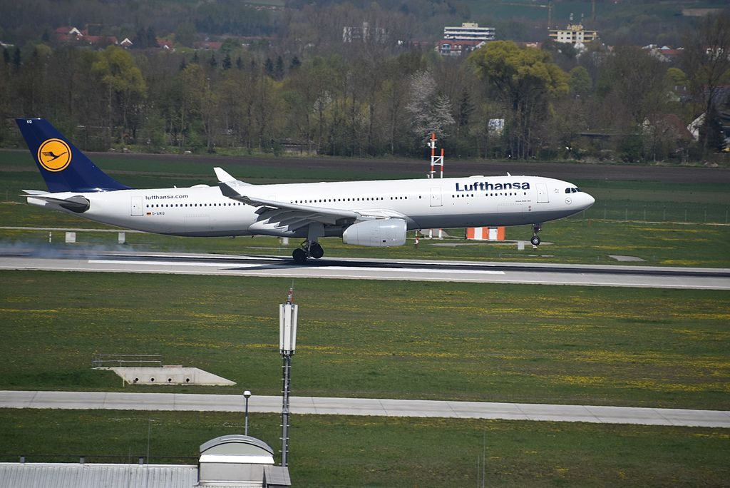 D AIKQ Airbus A330 300 of Lufthansa arriving rwy08L at Munich MUC Germany
