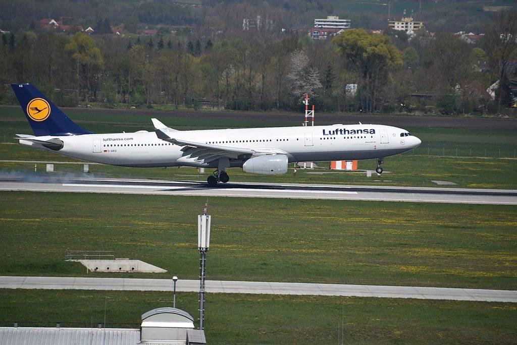 D AIKQ Airbus A330 300 of Lufthansa arriving rwy08L at Munich MUC Germany